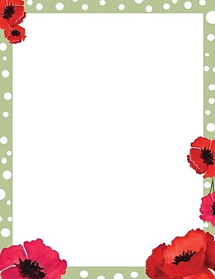Great Papers® Dotted Green Poppies Letterhead 80 count
