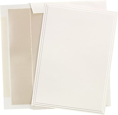 Great Papers® Triple Embossed Ivory Flat Card Invitations with Pearl Lined Envelopes