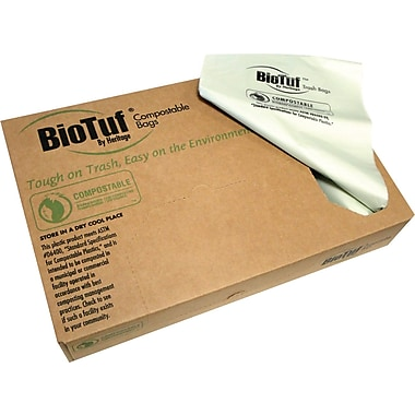 Heritage BioTuf® Compostable Can Liners, 60 Gallons, 0.9 mil., Green, 38