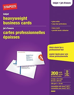 Staples Inkjet Business Cards Gloss White 200Pack Staples