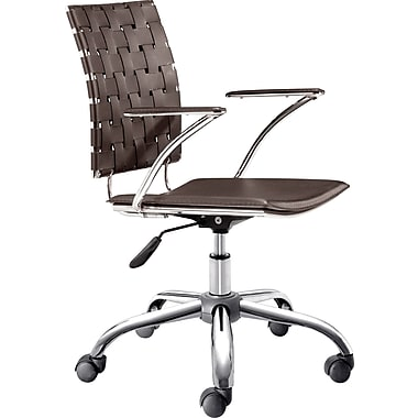 Zuo Products Criss Cross Faux Leather Managers Mid-Back Chair, Espresso