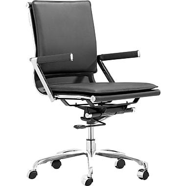 ZuoMD – Chaise Manager Lider Plus moderne en similicuir à dossier mi-dos, noir