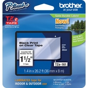 "Brother TZe-161 1.5"" P-Touch Label Tape, Black on Clear"