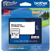 "Brother® TZe Series Tape, 1-1/2"", Black Lettering on White Label Tape"