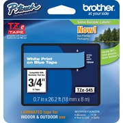 "Brother TZe-545 3/4"" P-Touch Label Tape White on Blue"