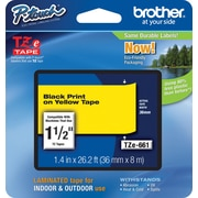 "Brother® TZe Series Tape, 1-1/2"", Black Lettering on Yellow Label Tape"