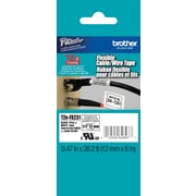 Brother® Cable/Wire Label Tape, 12mm, Black Lettering on White