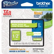 "Brother® TZe Series Laminated Label Tape, 1/2"", White on Lime Green"