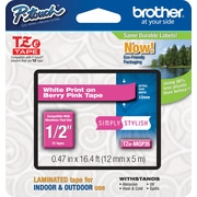 "Brother TZe-MQP35 1/2"" P-Touch Label Tape White on Berry Pink"