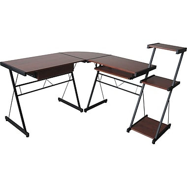 Star L Shape Desk Medium Cherry Black Finish