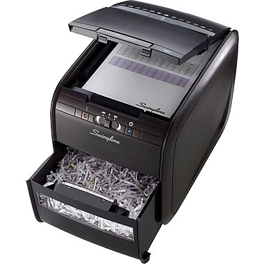 Swingline® Stack-and-Shred™ 60X, 1757572, 60 Sheets, Cross-Cut, Auto Feed Shredder, Black