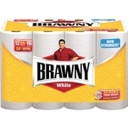 Brawny® White Perforated Paper Towel Rolls, 2-Ply, 12 Rolls/Case