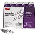 Staples Smooth Paper Clips, Silver, 100/Box, 10 Boxes/Pack (A7026607/72377)