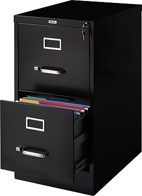 Staples 2-Drawer Vertical File Cabinet, Locking, Letter, Black, 22
