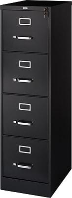 Staples 4-Drawer Letter Size Vertical File Cabinet, Black (22-Inch)
