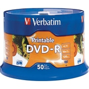 Verbatim® DVD-R 4.7GB 16x White InkJet Printable, 50-Pack Spindle