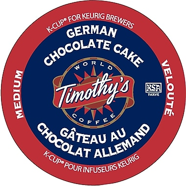 Timothy's German Chocolate Cake Coffee K-Cup Refills, 24/Pack