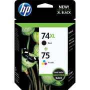 HP 74XL Black High Yield/75 Tri-color Original Ink Cartridges, Multi-pack (2 cart per pack) (CZ139FN
