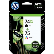 HP74XL/75 Black High Yield and Tri-Color Standard Yield Ink Cartridge, 2/Pack (CZ139FN#140)