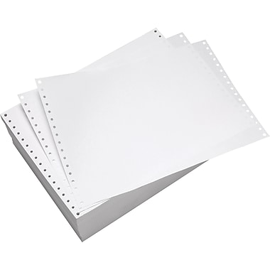 Staples® 44619/99388 Continuous Computer Paper, White, 8 1/2