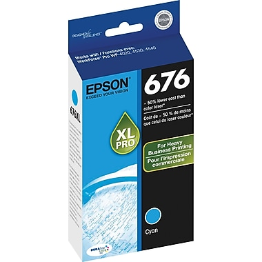 Epson® 676XL Cyan Ink Cartridge, High-Yield (T676XL220)