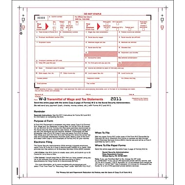 TOPS™ W-3 Tax Form, 2 Part, White, 9 1/2