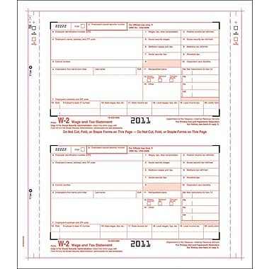 TOPS® W-2 Tax Form, 3 Part, Carbonless employee/employer set, White, 9 1/2