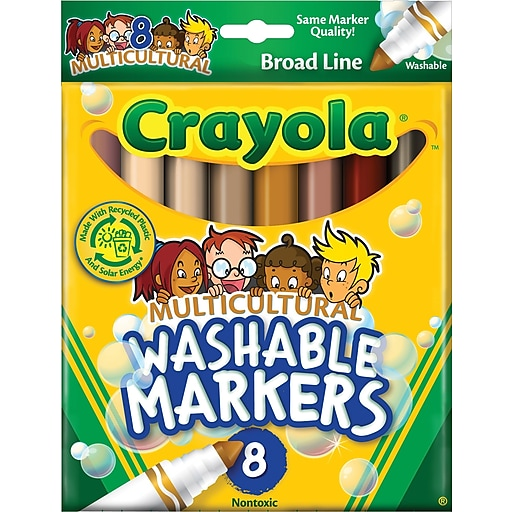 Crayola Multicultural Washable Broad Line Markers, Conical Tip, Assorted  Color, 8/Box (58-7801)