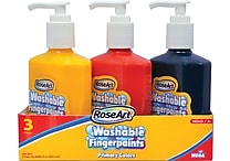 RoseArt Finger Paints, Pump Top Bottle, Primary Colors, 3/Pk