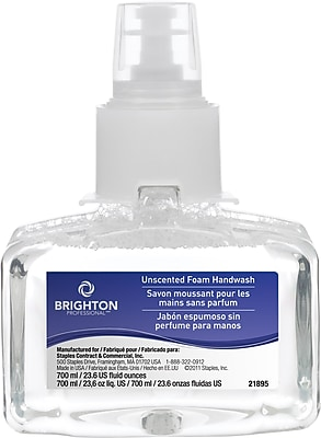Brighton Professional™ Clear & Mild Foam Hand Wash LTX-7 Refill, Fragrance Free, 700 mL, 3/Ct