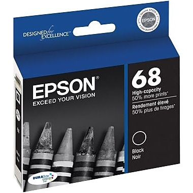 Epson 68 Black Ink Cartridge (T068120), High Yield