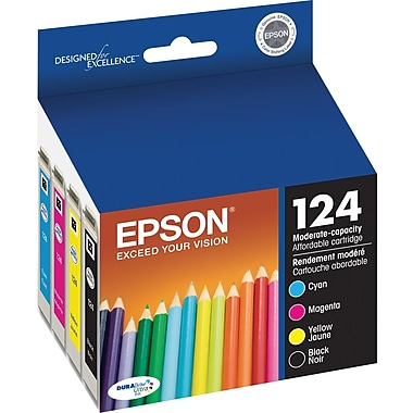 Epson® 124 (T124120-BCS) Black, Cyan, Magenta and Yellow Ink Cartridges, Combo Pack