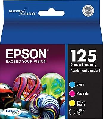 Epson 125 Black and Color C/M/Y Ink Cartridges (T125120-BCS), Combo 4/Pack