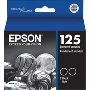 EPSON® 125 Standard-Capacity DURABrite Ultra Black Ink, Multi-pack (2 cart per pack)