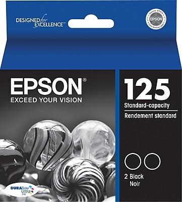 Epson 125 Black Ink Cartridges (T125120-D2), 2/Pack