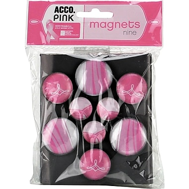 ACCO® Pink Ribbon Bubble Magnets, Pink
