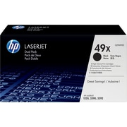 HP 49X (Q5949XD) Black High Yield Original LaserJet Toner Cartridges, 2/Pack
