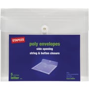 Staples® Side Opening Poly Envelope, Letter Size, 5 Pack