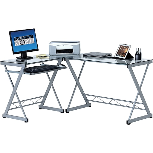 Techni Mobili L-Shaped Tempered Glass Top Computer Desk With Pull-Out Keyboard Panel, Clear