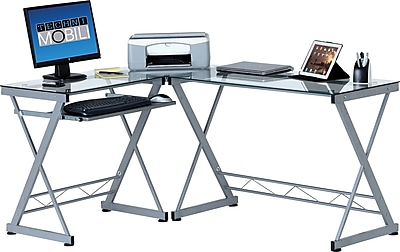 Delicieux Techni Mobili L Shaped Tempered Glass Top Computer Desk With Pull Out  Keyboard Panel. Rollover Image To Zoom In. Https://www.staples 3p.com/s7/is/