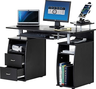 Techni Mobili Multi Function Computer Desk Espresso Staples