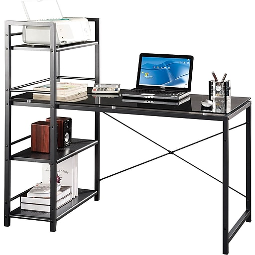 techni mobili rta 7337 computer desk with built in shelves black gray staples. Black Bedroom Furniture Sets. Home Design Ideas