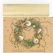 "Masterpiece Studios Warmest Wishes Beach Wreath Boxed Cards, Wreath In Sand, 5 5/8"" x 7 7/8"", 18/Bx"