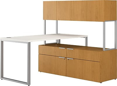 HON VOI® Bundle Solutions Small Footprint L-Station Desk with Low Credenza and Hutch, Harvest/Silver Mesh, 60