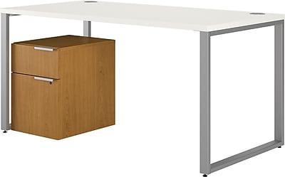 HON VOI® Bundle Solutions Table Desk with Mobile Pedestal, Harvest/Silver Mesh, 60