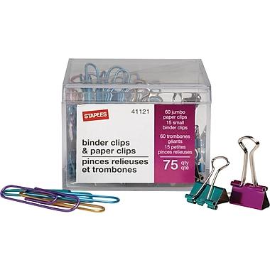 Staples® – Pinces relieuses et trombones, paquet économique