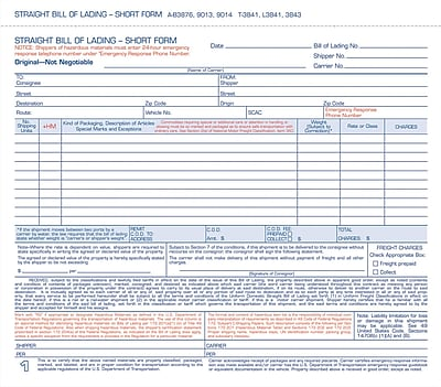 Adams Carbonless Bill Of Lading Forms  X   Part