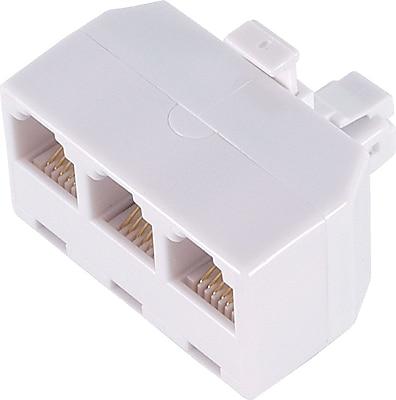 SHONCO Duplex Jack Phone Wall Adapter,2 Way Phone Splitter,2 Lines Wall Jack Phone RJ11 Adapter,3 Pack White