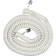 Power Gear Telephone Coil Cord, White (12 ft.)