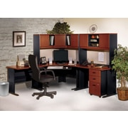 Bush Business Cubix 48W Corner Desk, Hansen Cherry/Galaxy, Installed